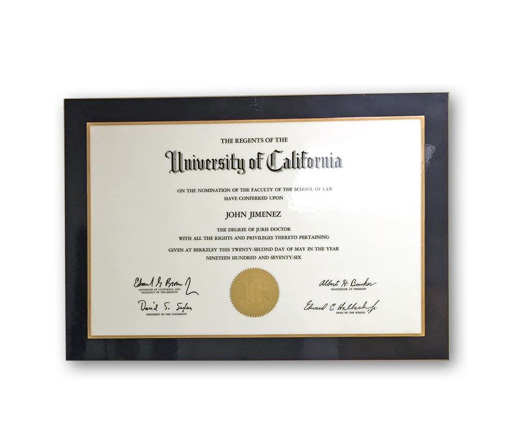 Uc Berkeley Degree Jimenez Law Offices Palm Desert Defense